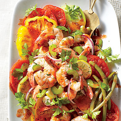 bloody mary tomato salad with pickled shrimp butter beans cornbread. Black Bedroom Furniture Sets. Home Design Ideas